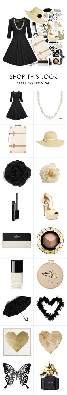 """""""Let's Travel: Paris"""" by silverharepatronus ❤ liked on Polyvore featuring Retrò, Bling Jewelry, Globe-Trotter, Sunday Afternoons, Accessorize, Steve Madden, Kate Spade, L'Oréal Paris, Chanel and Polaroid"""