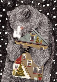 liekeland illustration bear and house Art And Illustration, Cute Bear Drawings, Bear Art, Cool Art, Painting, Art Prints, Artwork, Bears, Christmas
