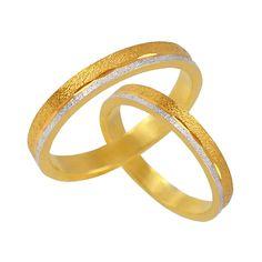 V32-142-30ΔΧ Δίχρωμη χρυσή βέρα γάμου από 226 € το ζευγάρι. Bangles, Bracelets, Wedding Bells, Gold Rings, Rose Gold, Jewelry, Jewlery, Jewerly, Schmuck