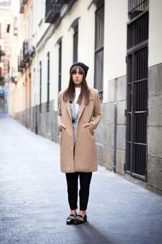 fall trend - belted at the waist | belted gray cardigan, camel coat, and pointed toe shoes