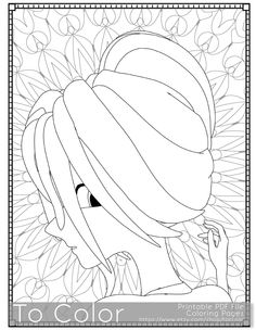 Girl Printable Coloring Pages For Adults PDF JPG Instant Download Book