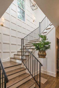 Love the board & batten grid on the stairwell wall!