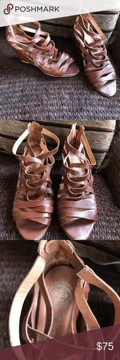 Jeffrey Campbell Zuma brown leather strappy wedge Gorgeous strappy wedges by Jeffrey Campbell have light overall wear. Some scuffing to the heel and toe please see photos for light overall wear buttery soft leather and super comfortable Jeffrey Campbell Shoes Wedges