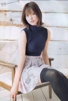 Risa Watanabe wearing blue sweater, pleated skirt, and black stockings Beautiful Japanese Girl, Beautiful Asian Women, Cute Asian Girls, Cute Girls, Asian Fashion, Girl Fashion, Asian Woman, Girl Photos, Beauty Women