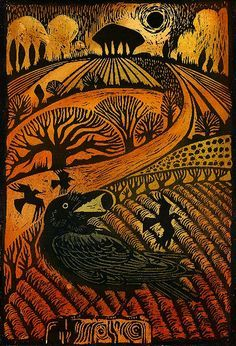 'Rook' woodcut by Ian MacCulloch