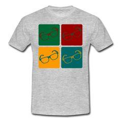 Vier Brillen in unterschiedlichen Farben im Warhol Style.