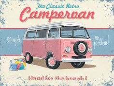 Campervan Metal Sign, Hot Pink Retro Beach Van, Garage, Bar, Den Decor, Ocean #OMSC #Americana