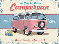 Campervan Metal Sign, Hot Pink Retro Beach Van, Garage, Bar, Den Decor, Ocean #OMSC #Americana