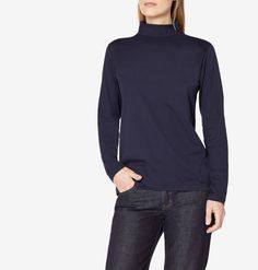 Offering a perfect layering option for winter or simply worn as a top, the polo neck is slightly more substantial than our superfine cotton T-Shirts. This cotton jersey has the same soft handle but in a slightly heavier weight. The fit is the same as o