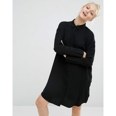Monki Oversized Shirt Dress (€43) ❤ liked on Polyvore featuring dresses, black, oversized dress, drop shoulder dress, t-shirt dresses, oversized t-shirt dresses and monki