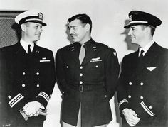 Robert Montgomery, Clark Gable and Robert Taylor, in uniform. All three men served during World War II.