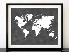 "Grey printable world map, distressed vintage texture map print, black and white map, black white print, grey wall art 10x8"" 20x16"" map018 B"