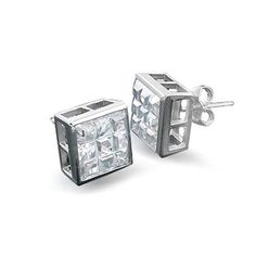 Bling Jewelry Square Invisible Cut CZ 925 Silver Bezel Stud Earrings 5mm