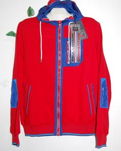 Paul & Shark AUTHENTIC RED Cotton Men Italian Blue Hood Sweater Size L $435 #PaulShark #FullZip