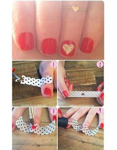 heart nail art diy.... I may have the patience for this