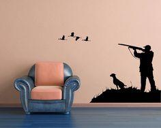 Duck Bird Goose Hunting Hunter Scene Hound Dog door VinylWallAccents