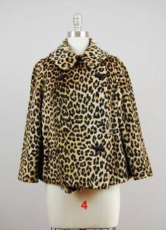 1960s short faux fur leopard swing coat / by HinterlandVintage, $78.00