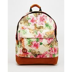 Mi-Pac Backpack in Tropical Floral Print ($54) ❤ liked on Polyvore featuring bags, backpacks, natural, zip bags, backpack bag, knapsack bags, print bags and pattern backpack