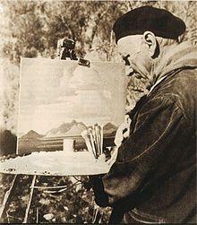 Jacobus Hendrik Pierneef op het werk (vóór 1957)