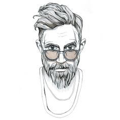 Kate Bychkova on Behance Realistic Hair Drawing, Male Face Drawing, Pencil Art Drawings, Cool Art Drawings, Art Sketches, Half Sleeve Tattoo Stencils, Fashion Sketch Template, Masculine Art, Beard Logo