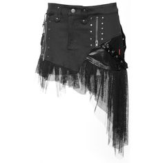 Gothic skirt from the women's clothing collection by Queen of Darkness, black cotton with PVC details and mesh. Detailed with zippers and rivets.