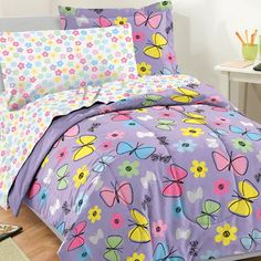 If you're looking for the perfect bedding set for your little girl, there is no better option than butterfly bedding. Butterfly Bedding sets are awesome. Kids Twin Bedding Sets, Purple Bedding Sets, Kids Comforters, Full Comforter Sets, Black Bedding, Purple Comforter, Floral Bedding, Teen Bedding, Cotton Bedding