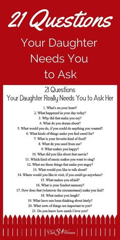 21 Questions Your Daughter Really Needs You to Ask Her Babypflege-Tipps in Telugu # ★ Erziehung ★ Source by . 21 Questions, This Or That Questions, Dating Questions, Couple Questions, Parenting Advice, Kids And Parenting, Peaceful Parenting, Parenting Classes, Gentle Parenting