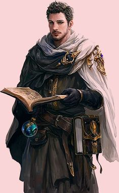 wizard / male spell caster with spellbook and flask male human character for DnD / Pathfinder Dnd Wizard, Fantasy Wizard, Fantasy Male, Fantasy Rpg, Medieval Fantasy, Dark Fantasy, Fantasy Character Design, Character Design Inspiration, Character Concept