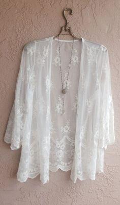 Summer sale Coachella festival white lace kimono
