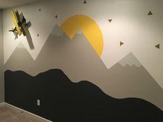 Kids Room Murals, Kids Room Paint, Baby Room Art, Kids Room Wall Art, Baby Room Design, Wall Design, Kids Bedroom Wallpaper, Mountain Mural, Room Wall Painting
