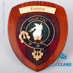 Lindsay Clan Crest Plaque. Free worldwide shipping available.