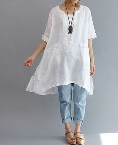Loose Fitting Linen Shirt Blouse for Women  - White - Women Clothing (R)