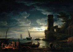 Claude-Joseph Vernet (1714-1789) - Night: Mediterranean coast scene with fishermen and boats (1753)