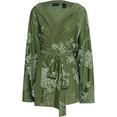 Fenty x Puma by Rihanna Boxing Bomber Robe Olive Branch // Laced... (€425) ❤ liked on Polyvore featuring outerwear, jackets, coats, jacket's and tie belt