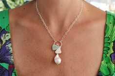 Sterling silver necklace with ginkgo biloba leaf and large baroque pearl di…