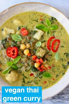 Vegan Thai Green Curry is fragrant, creamy, spicy and super nutritious! It makes the best quick and easy yet healthy dinner. Vegetarian, dairy-free and gluten-free. Green Curry Recipes Vegetarian, Vegetarian Thai Green Curry, Vegan Dinner Recipes, Vegan Dinners, Whole Food Recipes, Healthy Recipes, Easy Thai Green Curry, Thai Vegan, Raw Vegan
