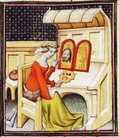 """Irene painting a diptych (of Christ?). From Boccacio, de mulieribus claris/Le livre de femmes nobles et renomées (trad. anonyme), early 15C French (Paris). Bibliothèque nationale, Paris. MS Français 598, fol. 92. """"cy apres s'ensuit de yrene femme de cratin. la LIXe rubriche"""""""