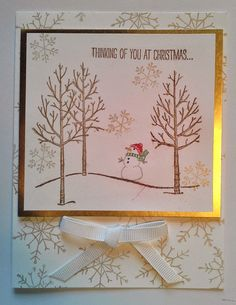 I recently made these Christmas Card for my card making classes at Hobby Lobby.  I used the White Christmas Stamp Set from Stampin' Up!