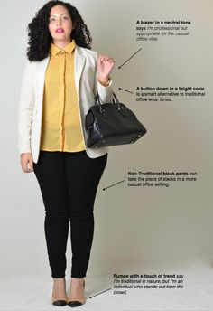 Great ideas from girlwithcurves.com! I think I would choose purple instead of yellow and an olive blazer (less likely to get dingy on messy me). Also, sturdier comfy pumps ...