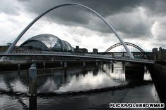 The Gateshead Millennium Bridge is the world's first and currently only tilting bridge. But the most amazing thing about this pedestrian and biker crossing of the Tyne River is that it appears as if an eye is winking whenever it is raised and lowered.