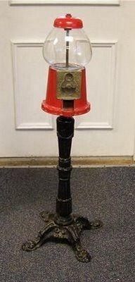 "11/"" Classic Red Gumball Machine Dispenser Made of Cast Iron"
