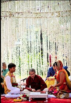 Mandap. #India | #Weddings. Really love the simplicity and beauty of this wedding and mandap.