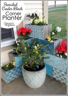 Cinder Block Corner Planter with each block stenciled a different shade (Reality Daydream)