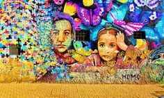 Moroccan women depicted in street art on a wall in Casablanca. Photograph: Alamy