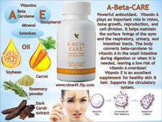 A-Beta-Care is an antioxidant help to protect and support cells and tissues throughout the body, including those of the cardiovascular, immune and nervous systems. Order at www.nina49.flp.com