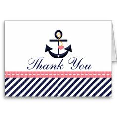 Pink Navy Nautical Anchor Thank You Notes Cards.  $2.75