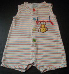 $14.97/ Unisex sleeveless, striped, multicolored Baby Romper one piece outfit features Monkey by New Potatoes brand, Infant size 9 mo's.  ~~see more youth, kids, children's clothing + over 20 categories of merchandise in my store. SHIPPING IS ALWAYS FREE in the USA; I do ship globally   www.shellyssweetfinds.com