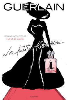 Réalisation & création d'une affiche pour une nouvelle campagne publicitaire ❝ La Petite Robe Noire de Guerlain ❞ spéciale Festival de Cannes • Concept - Silhouette - Robes - Parfum  • Réalisation Projet Scolaire