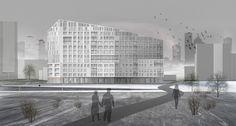 Проект многоквартирного жилого дома в микрорайоне «Лихоборка», Головинский район, г. Москва. Автор: Александра Кашина, студент 1 группы 4 курса
