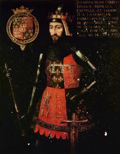 John of Gaunt, 1st Duke of Lancaster (1340-1399) son of Edward III of England and Philippa of Hainault. Husband to Blanche of Lancaster, Constance of Castile and Katherine Swynford